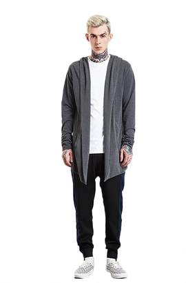 Marolaya Young Man's Fashion Long Sleeve Open Front Longline Hooded Knitted Cardigan