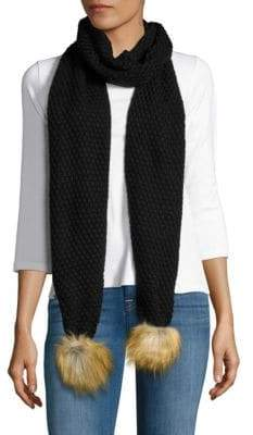 Lauren Ralph Lauren Moss Stitch Scarf with Faux-Fur Pom