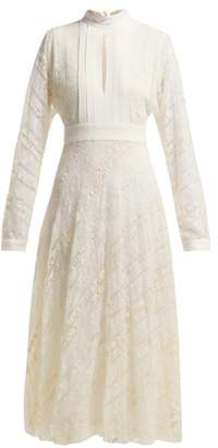 Giambattista Valli Crepe And Floral Lace Midi Dress - Womens - White