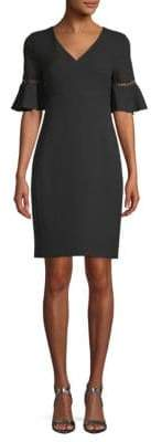 Bell-Sleeve Sheath Crepe Dress