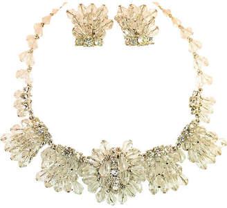 One Kings Lane Vintage 1960s Crystal Cluster Necklace Suite