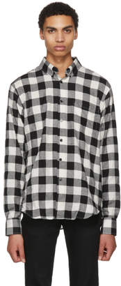 Naked and Famous Denim Black and White Buffalo Check Lightweight Shirt
