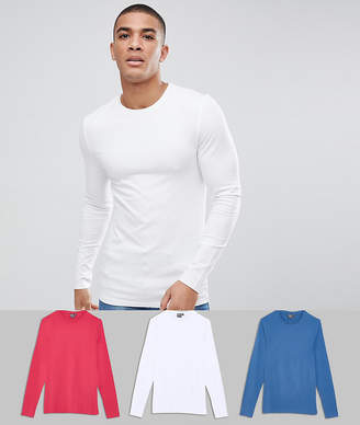 Asos DESIGN 3 pack muscle fit long sleeve crew neck t-shirt SAVE