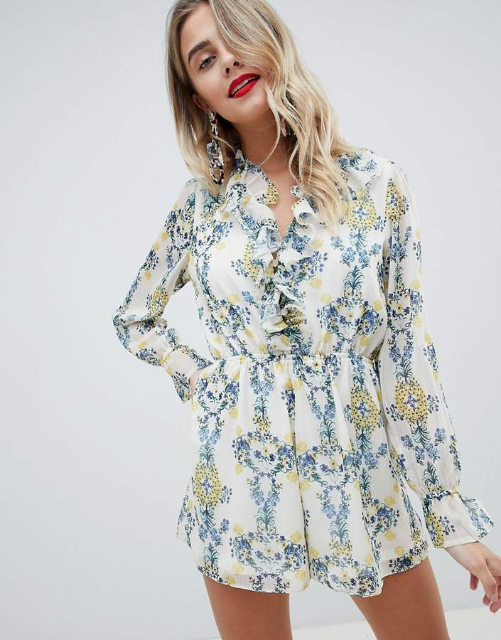 ASOS DESIGN romper in crinkle chiffon and floral print