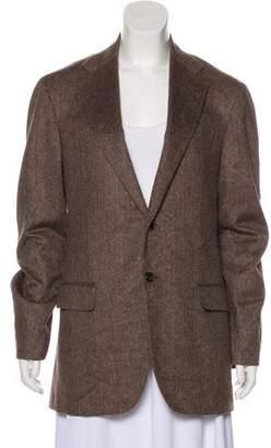 Lanvin Herringbone Notch-Lapel Coat