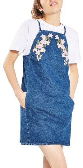 Topshop Women's Topshop Tulip Embroidered Pinafore Dress
