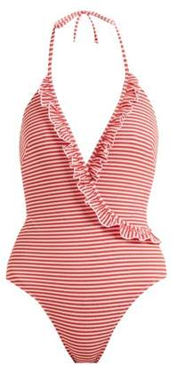 Solid & Striped The Nadine Ruffle Detail Halterneck Swimsuit - Womens - Red Stripe