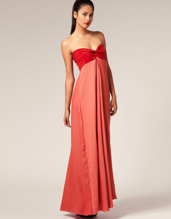 Aqua Encom Twist Bandeau Full Maxi Dress