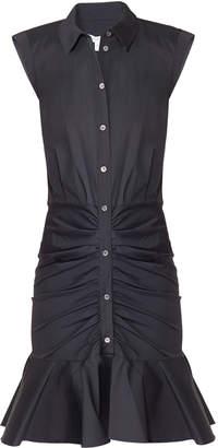 Veronica Beard Bell Button Down Ruched Shirt Dress
