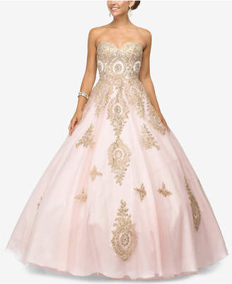Dancing Queen Juniors' Rhinestone Applique Gown