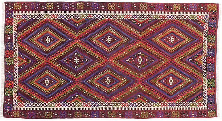 """5'4″x9'10"""" Senneh Rug – Red/Purple"""