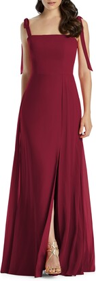 Dessy Collection Shoulder Tie Chiffon Evening Dress