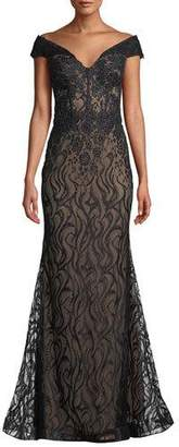 Faviana Off-the-Shoulder Lace Mermaid Dress