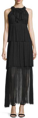 Elie Tahari Alicia Sleeveless Tiered Maxi Dress, Black $498 thestylecure.com
