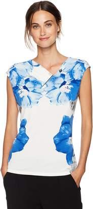 Calvin Klein Women's Sleeveless Print V-Neck Top with Bar