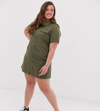 Urban Bliss Plus utility mini dress with neck tie detail