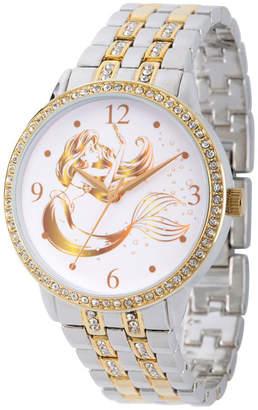 DISNEY PRINCESS Disney Princess Ariel The Little Mermaid Womens Two Tone Bracelet Watch-Wds000230