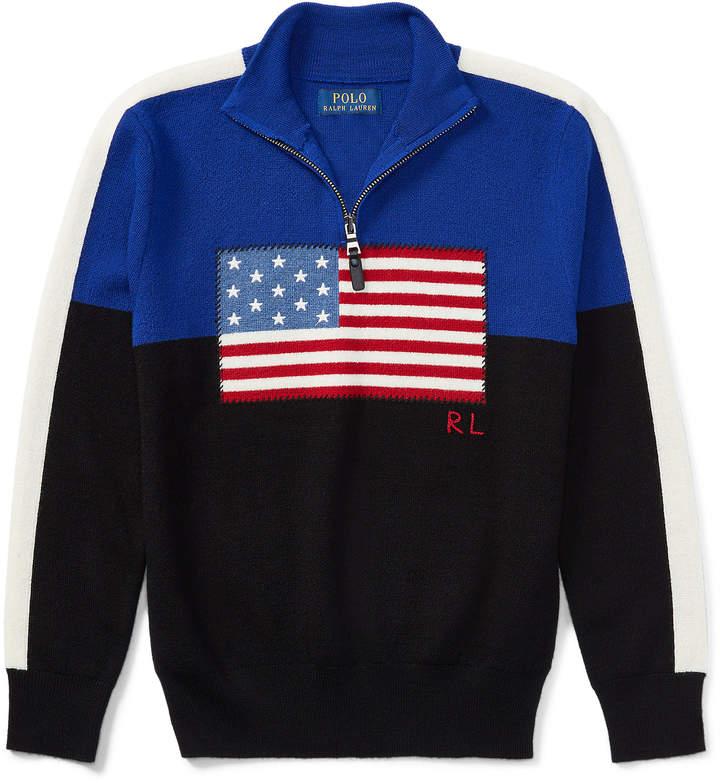 Flag Merino Half-Zip Sweater
