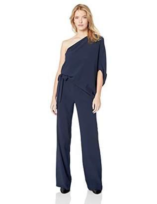 Halston Women's Asymmetrical Sleeve Wide Leg Jumpsuit