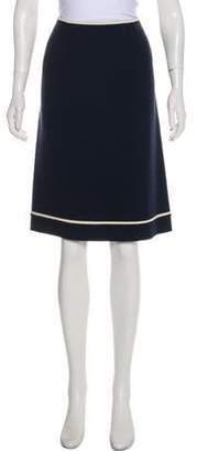 Valentino Virgin Wool Knee-Length Skirt Navy Virgin Wool Knee-Length Skirt