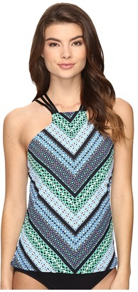 Jantzen - Geo Graphic Stripe High Neck Tankini Top Women's Swimwear $84 thestylecure.com