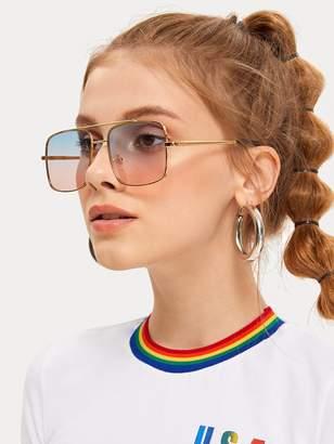 Shein Full Rim Top Bar Ombre Lens Square Sunglasses