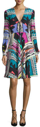 Etro Bishop-Sleeve Mixed-Print Dress, White/Multi $2,200 thestylecure.com