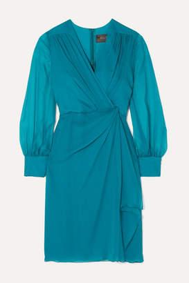 Max Mara Elegante Knotted Silk-chiffon Dress - Turquoise