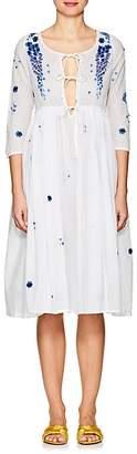 Thierry Colson Women's Sahar Delphinium-Embroidered Cotton Voile Dress