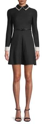 Valentino Point Collar Belted Fit-&-Flare Dress