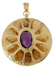 Arte d'Oro Round Gemstone Pendant, 18K Gold