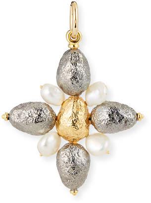 Silver Cross Grazia And Marica Vozza Black Charm with Pearls