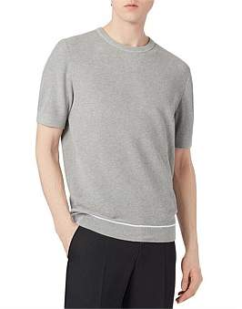 HUGO BOSS Short-Sleeved Sweater With Contrast Flatlock Stitching