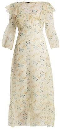 Rochas Round Neck Dragonfly Print Silk Dress - Womens - White Print