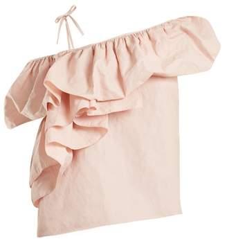 Marques Almeida Marques'almeida - One Shoulder Ruffled Cotton Blend Top - Womens - Light Pink