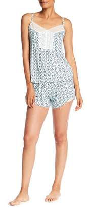 Catherine Malandrino Strappy Tank Top & Shorts Print 2-Piece Pajama Set