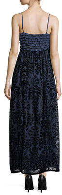 Max Studio Velvet Embroidered Maxi Dress