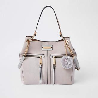 River Island Light grey pocket front slouch bag
