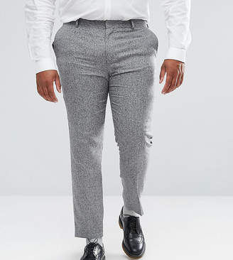 Asos DESIGN PLUS Wedding Skinny Suit Pants In 100% Silk Textured Gray