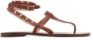 Valentino Rockstud Double Strap Leather Sandals - Womens - Tan