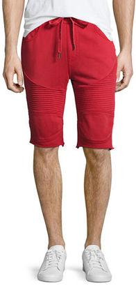 True Religion Drawstring Moto Sweat Shorts $129 thestylecure.com