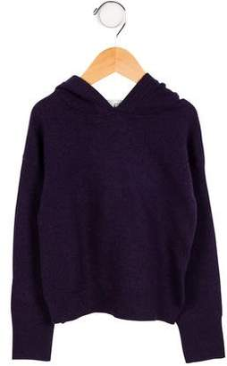 Autumn Cashmere Girls' Leather-Trimmed Wool Sweater