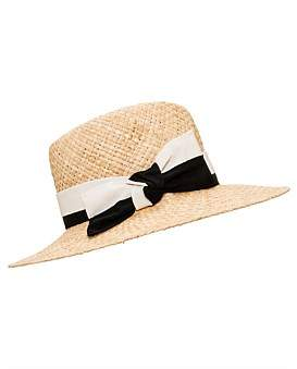 Milana Raffia Fedora With Mono Bow