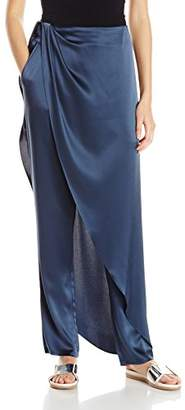Baja East Women's Satin Back Crepe Drape Front Pant