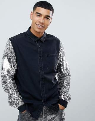 Asos DESIGN party regular fit denim shirt with sequin sleeve