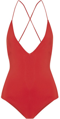 Emma Pake - Antonia Lace-up Swimsuit - Red $355 thestylecure.com