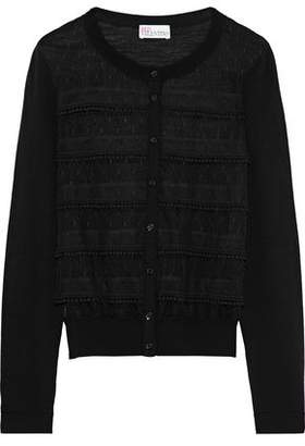 RED Valentino Pompom-Trimmed Point D'esprit-Paneled Wool Cardigan