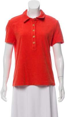 Tory Burch Pointed Collar Short Sleeve Top