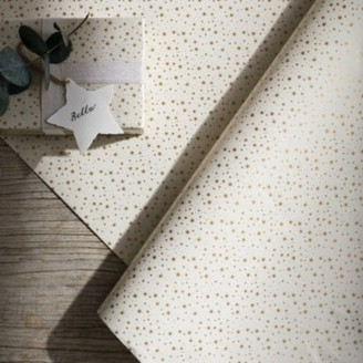 The White Company Mini Stars Wrapping Paper - 5m, Gold, One Size