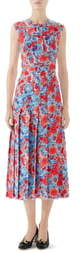 Gucci Floral Print Pleated Silk Midi Dress
